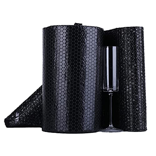 Willing Small Bubble Cushioning Wrap,Perforated Every 12 Inch,Anti-Static Black Bubble Roll,12 Inch×36 Feet,1 Packs,With 10 Fragile Labels for Transporting Valuable/Fragile Items.