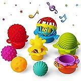 teytoy 13 pelotas de bebé con textura para el desarrollo sensorial con 1 pelota de agarrar y 6 vasos apilables, juguetes para bebés a partir de 6 meses