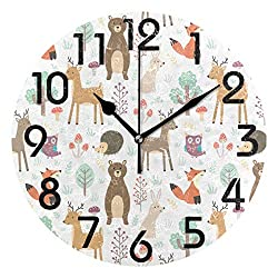Naanle Lovely Cute Cartoon Forest Animal Deer Fox Bear Owl Pattern Round Wall Clock Decorative, 9.5 Inch Battery Operated Quartz Analog Quiet Desk Clock for Home,Office,School