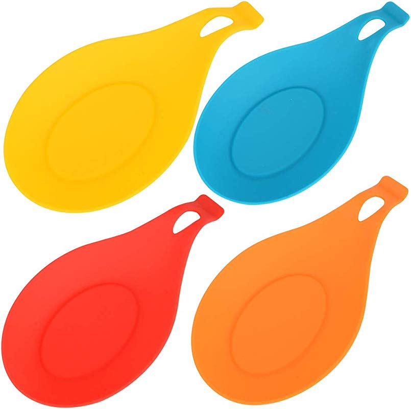 Kitchen Silicone Spoon Rest Flexible Spoon Shaped Silicone Kitchen Spoon Holder Cooking Utensil Rest Ladle Spatula Spoon Holder Set Of 4