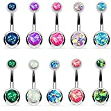 BodyJ4You 10PC Belly Button Ring Double Created-Opal CZ Stainless Steel 14G Navel Piercing Jewelry