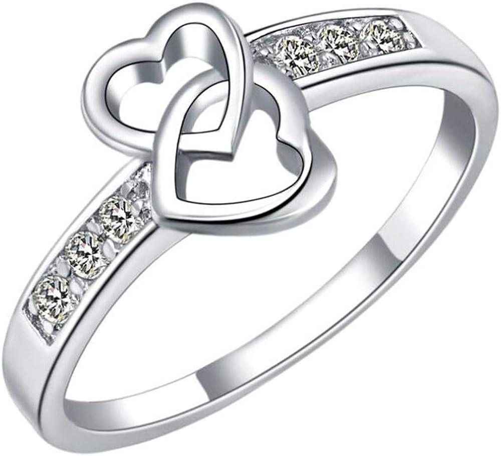 Jude Jewelers Platinum Plated Interlocking Double Heart Infinity Promise Statement Ring