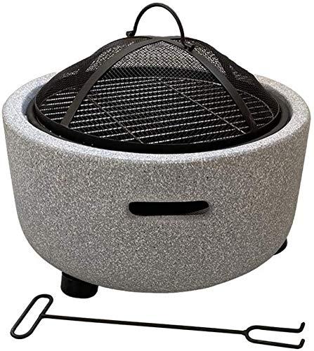 LUNAH Braciere da Giardino, braciere riscaldato per Esterni con griglia per braciere Braciere Bruciatore Resistente al Gelo per Campeggio Soggiorno Esterno Patio Stufa Effetto Pietra (Nera)