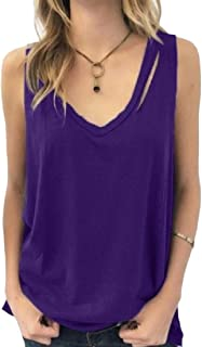 Women V Neck Tank Tops Summer Casual Solid Sleeveless Shirts Loose Blouse
