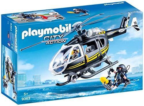 Playmobil- City Action Giocattolo Elicottero unità Speciale con Sommozzatore, Multicolore, 9363