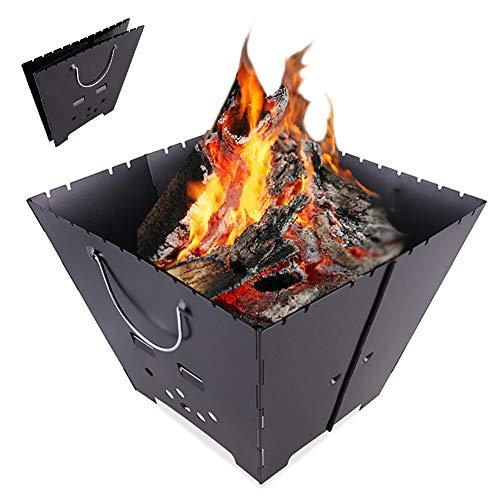 Fire Pit Portable Portátil, Fácil De Montar La Mesa Al Aire Libre Firepit, Estufa De Fogatas Ardiente Leña Y Carbón De Leña, Rejilla De Cocción De Acero Inoxidable Vertical/Malla De La Parrilla