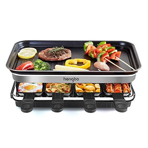 Raclette 8 Personen, Raclette Grill mit 8 Mini Raclette Pfännchen zum Kochen von Käse und Beilagen & Ein Holzspatel Raclette, Flexibler Temperaturregelung, Antihaft-Kochfläche - 1500W
