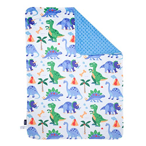 Wildkin Plush Throw Blanket for Toddler Boys and Girls, Perfect Size for Daycare and Ideal for Travel, Super Soft Throw Blankets Measures 39.5 x 28 x 0.5 Inches, BPA-free, Olive Kids (Dinosaur Land)