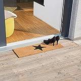 Relaxdays Fußmatte schmal STERN aus Kokos und Gummi PVC als Fußabtreter für Außen & Innen Eingangsmatte mit rutschfestem Boden als Türvorleger und Türmatte HBT: 1,5 x 75 x 25 cm, natur - 5