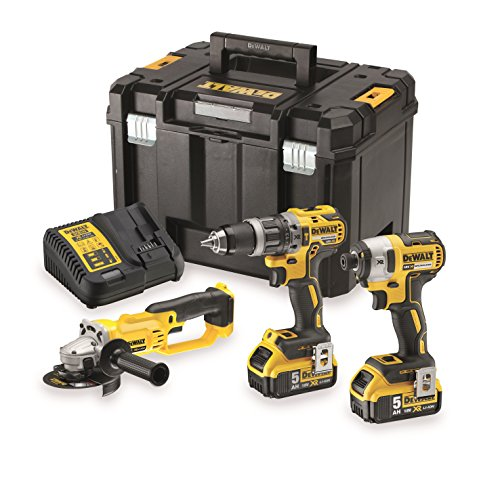 Dewalt DK383P2T-QW Kit 3 Tools 18 V - Compact Drill - Impact Wrench and Angle Grinder 18 V Jaune Noir