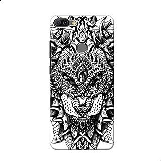 Back Cover Ornate Lion For Xiaomi Mi 8 Lite - Black White