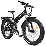 W Wallke X3 Pro Folding Electric Mountain Bike 26 Inch Fat Tire Ebike 750W 48V 14AH Samsung Removable Lithium Battery Bicycle for Adult, Premium Seamless Welding Aluminum Alloy Frame (Black)
