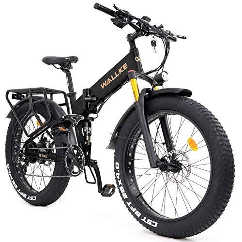 W Wallke X3 Pro Folding Electric Mountain Bike 26 Inch Fat Tire Ebike 750W Motor, 48V 14AH Samsung Removable Lithium Battery Bicycle for Adult, Premium Seamless Welding Aluminum Alloy Frame (Black)