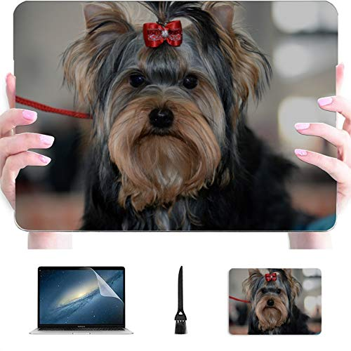 A1466 Case Yorkshire Terrier Posing an Grass Plastic Hard Shell Compatible Mac MacBook Computer Case Protection Accessories for MacBook with Mouse Pad
