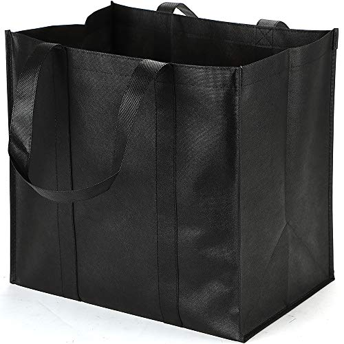 6 Pack Reusable Grocery Tote Bags, Hold 44+ lbs, Extra Large & Durable, Heavy Duty Shopping Totes,Grocery Bag with Reinforced Handles, Completely Reinforced Bottom & Straps (BLACK)