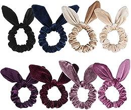 Jaciya 8 Pack Hair Scrunchies Velvet Elastic Hair Bands Scrunchy Hair Ties Ropes Scrunchies for Women Hair Accessories, Rabbit Ear Scrunchie