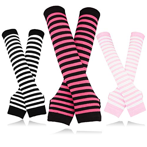 Bellady 3 Pairs Striped Arm Warmers Fingerless Gloves for Women,Pink