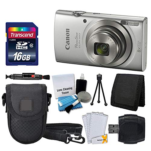 Canon PowerShot ELPH 180 Digital Camera (Silver) + Transcend 16GB Memory Card + Point & Shoot Camera Case + USB Card Reader + LCD Screen Protectors + Memory Card Wallet + Cleaning Pen + Accessory Kit