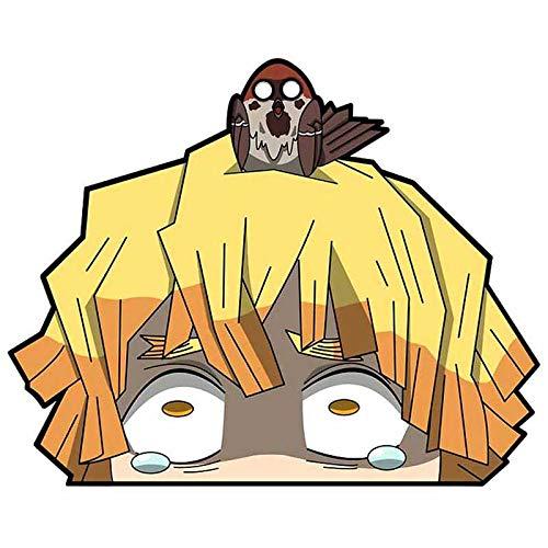 EARLFAMILY 5.1'' for Demon Slayer Peeker Funny Car Stickers Auto Vinyl Car Decals Windshield Windows Anime Sticker