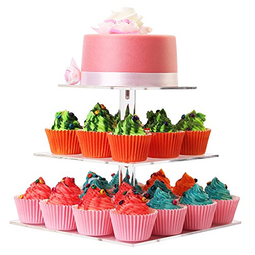 LoveDisplay 3 Tier Acrylic Square Cupcake Stand - Party Stand Holder
