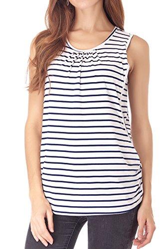 Smallshow Camiseta de Lactancia de Maternidad Ropa Enfermería de Lactancia sin Mangas para Mujer de Verano White Stripe X-Large