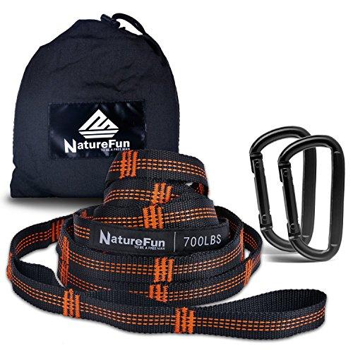 amaca hammock NATUREFUN Camping Hammock Accessori Sistema di Sospensione Cinghie per Amaca 2000+ lbs Heavy Duty con 18 Passanti