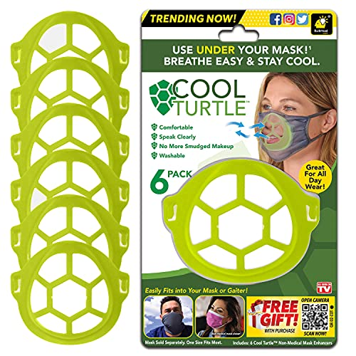 Cool Turtle Mask Enhancer As Seen On TV, Keeps You Cool & Dry All Day, Reduces Friction — Face Mask Inner Support Frame Helps You Breathe Easier — Washable & Fits Men and Women, One Size, Green