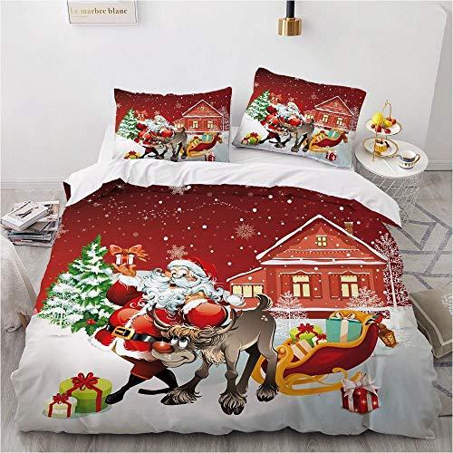 GTBDWOSQ Duvet Cover Cartoon Santa Sleigh Car Super King 260 X 230 Cm With 2 Pillowcase (50X75Cm)3D Printed Bedding Set With Zipper Closure Unique Design Anti-Allergic Duvet Cover For Children'S Roo