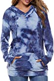 VILOVE Women Hoodies Pullover Cotton Tie Dye Long Sleeve Drawstring Casual Sweatshirt Tops with Pocket Blue XX-Large
