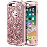 Hython Designed for iPhone 8 Plus, iPhone 7 Plus Case, Heavy Duty Defender Protective Bling Glitter Sparkle Hard Shell Hybrid Shockproof Rubber Bumper Cover for iPhone 7 Plus and 8 Plus, Rose Gold