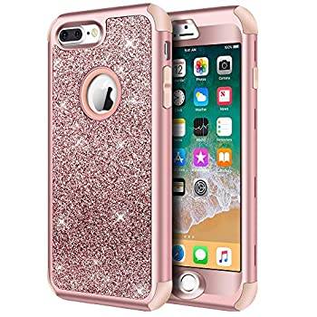 Hython Designed for iPhone 8 Plus iPhone 7 Plus Case Heavy Duty Defender Protective Bling Glitter Sparkle Hard Shell Hybrid Shockproof Rubber Bumper Cover for iPhone 7 Plus and 8 Plus Rose Gold