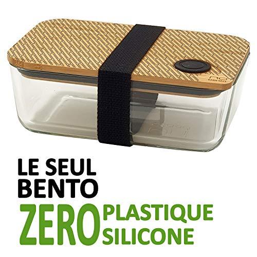 NUBENTO - Le Seul BENTO Zero Plastique - Bento/Lunch Box en Verre et Bambou avec Sangle - Dessin Ovales