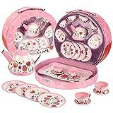 UNIH Tea Set for Little Girls,Kids Tea Set Pink Tin Tea...