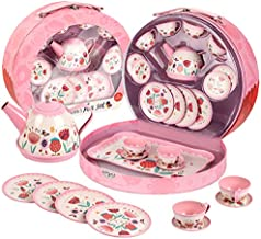 UNIH Tea Set for Little Girls,Kids Tea Set Pink Tin Tea Party Set with Carry Case, Pretend Play Tea Set Toys for Kids Toddlers