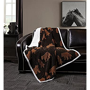 Virah Bella Black Brown Bear by Phyllis Dobbs Jacquard Fleece Sherpa Back Throw Blanket, 50 x 60 Inches