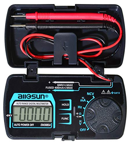 ALLOSUN Digital Multimeter Pocket Size DC AC Voltage Current Tester NCV Ohm Capacitance Frequency Diode and Continuity Test Auto Range (EM3085A (Upgraded))