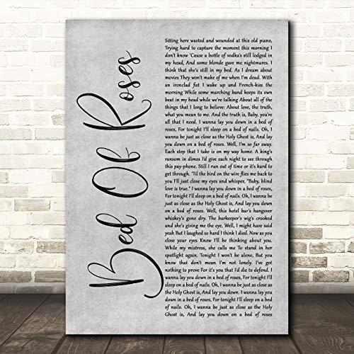 Bed of Roses Rustiek Script Grijs Song Lyric Quote Poster Muurschildering Print Small A5
