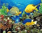 FSKJSZYH Rahmenlose DIY Aquarium Fisch Abstrakte Tiere Malen Nach Zahlen Handgemaltes Ölgemälde...