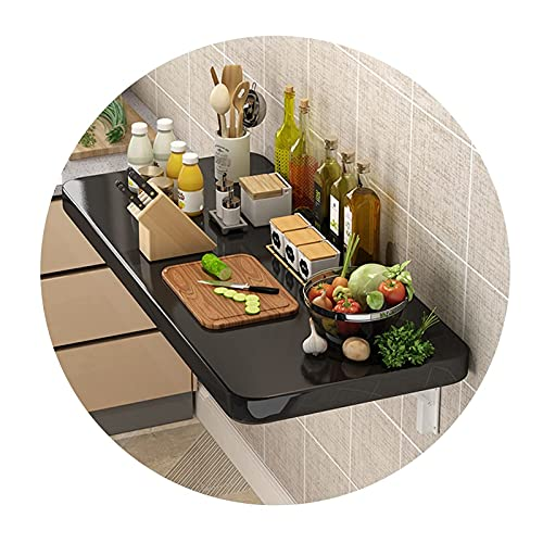 LOUXIAO gute Dinge Faltschalter Gute Tragung Wandmontierter Schreibtisch Restaurant Teiler Schwarz Arbeitsplatte Sonnenzahn Rack Küchenregal Zusammenklappbar für Küche Schlafzimmer Schreibtisch (Farbe