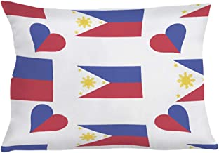 Style In Print Personalized Pillow Case Philippines Country Flag Heart Polyester Pillow Cover 20INx28IN Design Only Set of 2