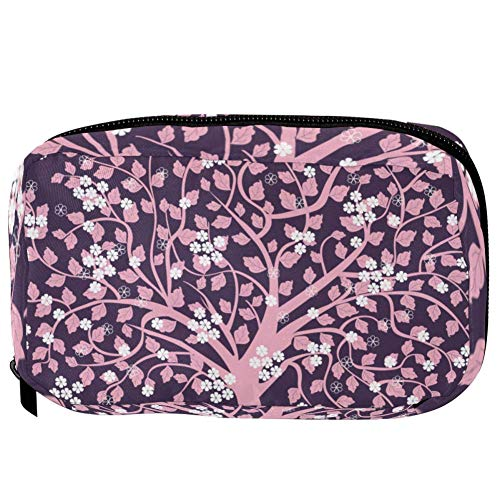 TIZORAX Cosmetic Bags Pink Tree With Flowers And Birds Handy Toiletry Travel Bag Organizer Makeup Pouch for Women Girls