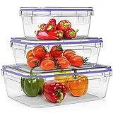 Home Fleek - Envases de Vidrio para Alimentos | 3 Recipientes + 3 Tapas | Herméticos | Sin BPA (Set 3, Rectangular Azul)