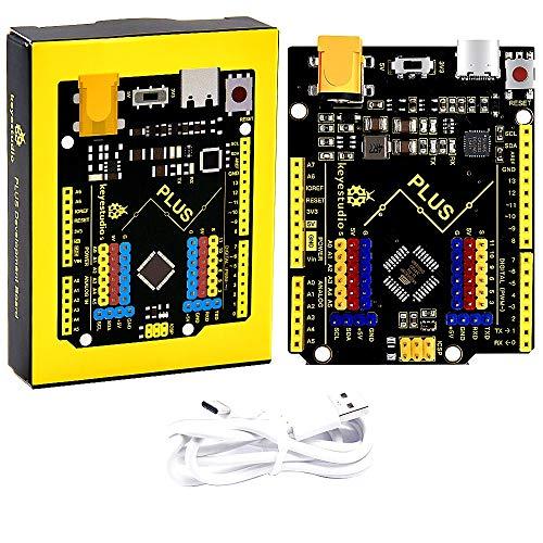 KEYESTUDIO R3 Tarjeta Placa ATmega328P ATMEGA16U2 con Cable Type C y Microcontrolador Compatible con Arduino IDE