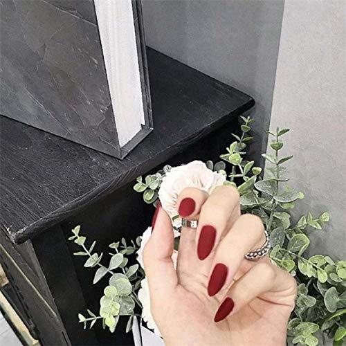 TJJF 24 Pcs Couverture Complète Pointe Pointue Gommage Rouge Frais Tempérament Mat Faux Ongles Portable Stiletto Faux Appuyez Sur Les Ongles Avec De La Colle