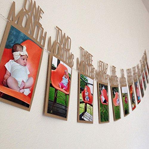 PU Ran Baby Kids Birthday Gift Decoration 1–12mesi immagine banner mensile foto da parete Brown