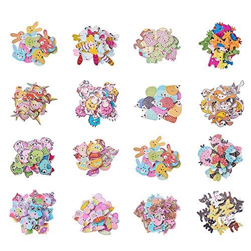 PandaHall Elite 300 Pezzi Bottoni in Legno 2-Foro per Decorazioni Cucito Scrapbooking Artigianato Fai da Te, Colore Misto, 16-35x16-40x2,5-5mm, Foro: 1-2mm, 20 Pezzi/Tipo, 300 Pezzi/Set