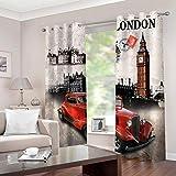 Mtoed Cortinas Opacas De Térmica Aislante Adecuado para Balcon Salón Habitación Dormitorio, Impresión Big Ben, Londres 3D Modernos Decoración De La Ventana Cortinas 200X160cm 2 Pieza