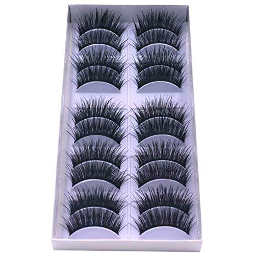 Faux cils CAIXAI 10 Paires De 3D épais Et Longs Moelleux Cils Vaporeux Multicouche Flottement Outils De Maquillage
