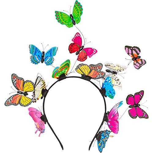 Amakando Colorida Diadema de Mariposa para Adulto - Fantstico arreglo para la Cabeza Hada y elfa - Inmejorable para Festivales y Fiestas temticas
