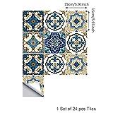 Topmail 24 Pezzi Adesivi per Piastrelle Wall Stickers da Mattonelle Parete Muro in PVC Impermeabile Autoadesivo Antiolio Decorazione Murale Stile Marocchino Blu 15x15cm per Cucina Bagno Fai da Te